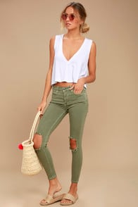 FREE PEOPLE HIGH RISE BUSTED OLIVE GREEN DISTRESSED SKINNY JEANS at Lulus.com!