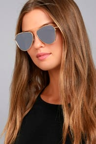 Keep Dancing Gold and Grey Mirrored Aviator Sunglasses at Lulus.com!