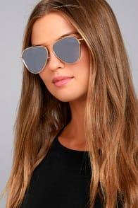 Keep Dancing Gold and Grey Mirrored Aviator Sunglasses at Lulus.com!