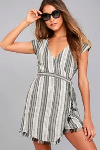 Island Retreat Grey Striped Wrap Dress at Lulus.com!