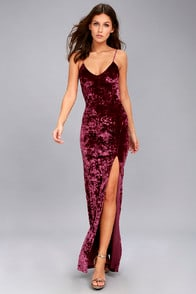 Supernatural Love Burgundy Crushed Velvet Maxi Dress at Lulus.com!