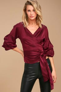 I WANNA KNOW BURGUNDY SATIN WRAP TOP at Lulus.com!