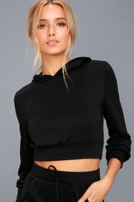 Mickey Black Cropped Hoodie at Lulus.com!