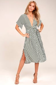 Faithfull the Brand Mustang Olive Green Striped Midi Dress at Lulus.com!