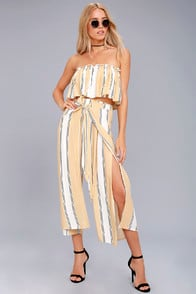 Faithfull the Brand Sands Island Beige Striped Pants at Lulus.com!