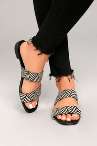 STEVEN BY STEVE MADDEN FRIENDSY BLACK MULTI SLIDE SANDALS at Lulus.com!
