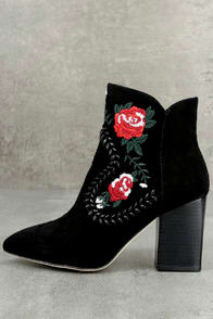 SILENT D MANDA BLACK SUEDE LEATHER EMBROIDERED ANKLE BOOTIES at Lulus.com!