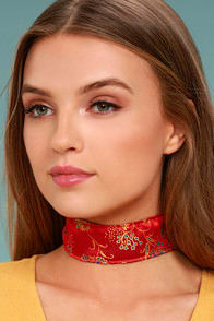 FRASIER STERLING SHANGHAI RED BROCADE CHOKER NECKLACE at Lulus.com!