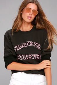 JUNK FOOD WHATEVER FOREVER WASHED BLACK SWEATSHIRT at Lulus.com!