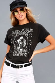 Janis Joplin Down on Me Washed Black Tee at Lulus.com!