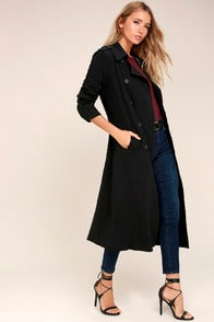 ALIAS BLACK MAXI TRENCH COAT at Lulus.com!