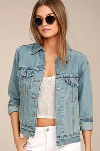LEVI'S EX BOYFRIEND TRUCKER LIGHT WASH DISTRESSED DENIM JACKET at Lulus.com!