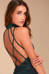 HISTORY OF TIME FOREST GREEN BACKLESS BODYSUIT at Lulus.com!