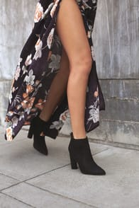SCARLETT BLACK SUEDE HIGH HEEL ANKLE BOOTIES at Lulus.com!