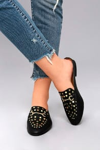 LOUISA BLACK STUDDED LOAFER SLIDES at Lulus.com!