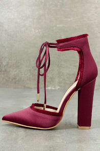 Amalia Wine Satin Lace-Up Heels at Lulus.com!