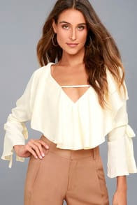 FANCY FLAIR CREAM LONG SLEEVE TOP at Lulus.com!