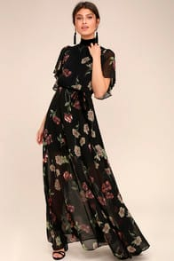 Every Little Thing Black Floral Print Maxi Dress at Lulus.com!