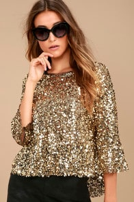 MIRAGE GOLD SEQUIN TOP at Lulus.com!