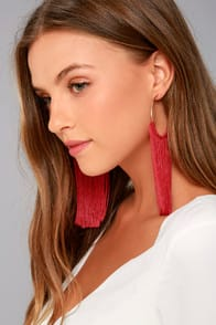 Wings of the Wind Gold and Red Fringe Earrings at Lulus.com!