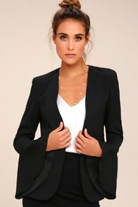 night visions black cropped blazer at Lulus.com!