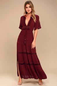 SANTA FE SWAY BURGUNDY CROCHET MAXI DRESS at Lulus.com!