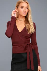 All Wrapped Up Burgundy Long Sleeve Sweater Top at Lulus.com!