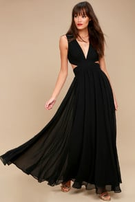 Vivid Imagination Black Cutout Maxi Dress at Lulus.com!