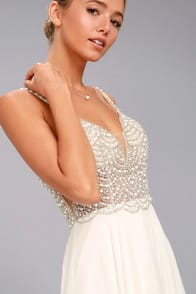 TRUE LOVE WHITE BEADED RHINESTONE MAXI DRESS at Lulus.com!