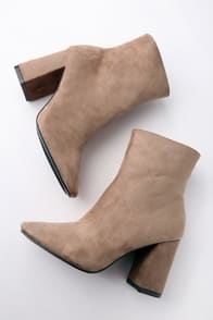 MY GENERATION TAUPE SUEDE HIGH HEEL MID-CALF BOOTS at Lulus.com!