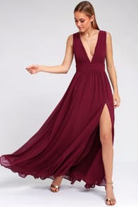 HEAVENLY HUES BURGUNDY MAXI DRESS at Lulus.com!