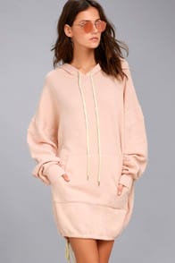 Project Social T Luca Light Pink Hooded Dress at Lulus.com!