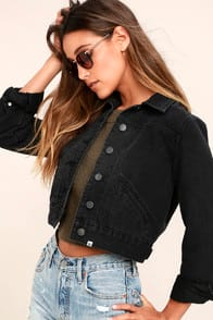 Billabong Beamin' and Dreamin' Washed Black Cropped Denim Jacket at Lulus.com!