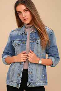 ALWAYS TRUCKIN' MEDIUM WASH DENIM JACKET at Lulus.com!