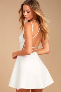 Believe in Love White Backless Skater Dress at Lulus.com!