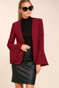 NIGHT VISIONS BURGUNDY CROPPED BLAZER at Lulus.com!