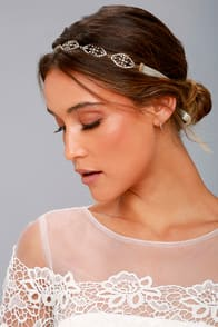 Breathtaking Cream and Gold Rhinestone Headband at Lulus.com!