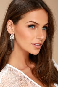 Cascada Silver Rhinestone Earrings at Lulus.com!