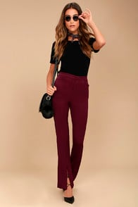 Her Life Burgundy High Waisted Trouser Pants at Lulus.com!