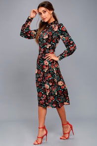 RETRO READY BLACK FLORAL PRINT LONG SLEEVE MIDI DRESS at Lulus.com!