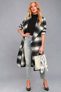 Sisson Black and White Plaid Wrap Coat at Lulus.com!