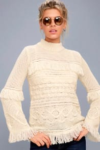Baker Cream Fringe Cable Knit Sweater at Lulus.com!