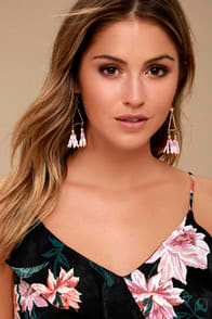 FAVORITE FEATURE GOLD AND PINK BEADED TASSEL EARRINGS at Lulus.com!