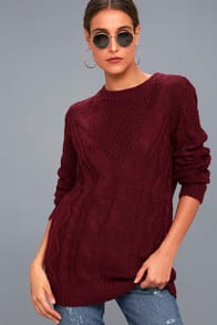 Irreplaceable Love Burgundy Cable Knit Sweater at Lulus.com!