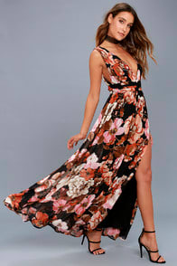 Garden Meandering Black Floral Print Maxi Dress at Lulus.com!
