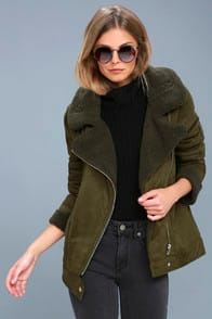 DALLAS OLIVE GREEN SHERPA COAT at Lulus.com!