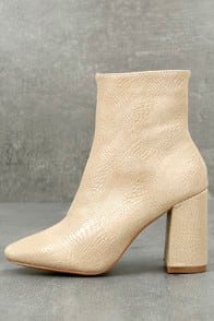 MY GENERATION NUDE SNAKE HIGH HEEL MID-CALF BOOTS at Lulus.com!