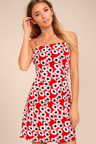 ROLLAS BRIDGET RED FLORAL PRINT MINI DRESS at Lulus.com!