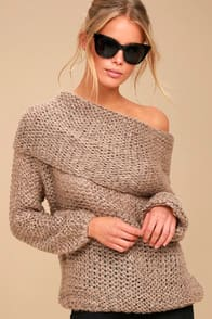 FOREVER COZY LIGHT BROWN KNIT OFF-THE-SHOULDER SWEATER at Lulus.com!