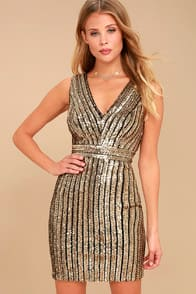 Marquee Lights Gold Sequin Backless Bodycon Dress at Lulus.com!